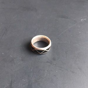 Size 9 sterling Navajo onyx inlay ring